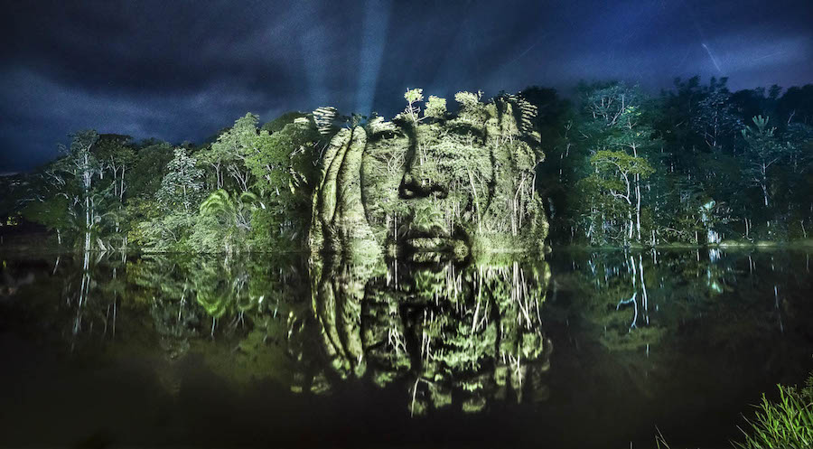 Stunning Video Projections of Indians in the Amazonian Forest 0