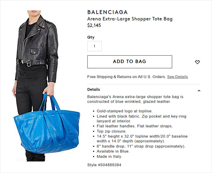 ikea responds balenciaga original frakta bag 27