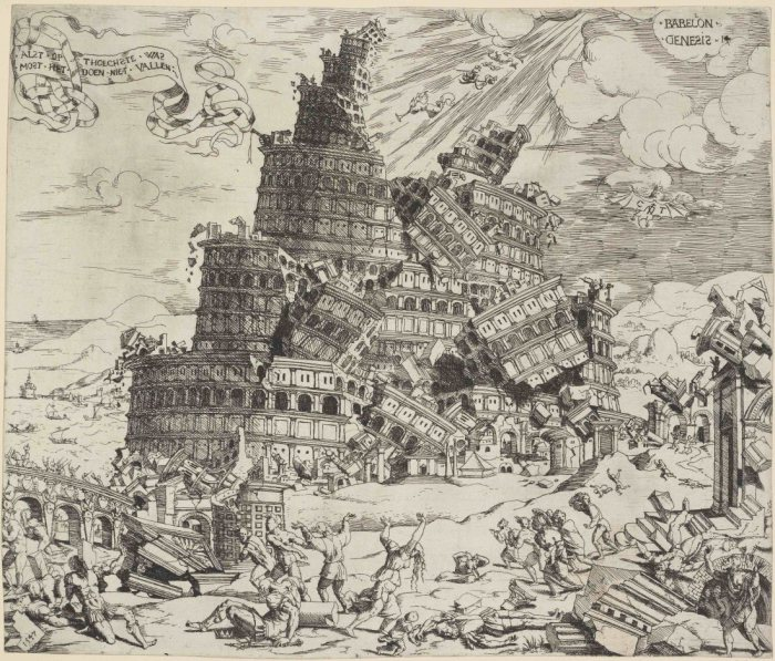 cornelis anthonisz the fall of the tower of babel 1547l